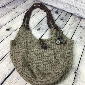 The sack net purse gray hobo knit large